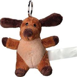 Porte clés peluche chien  marron 10 cm