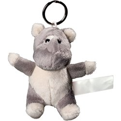 Porte clés peluche rhinocéros  gris 10 cm