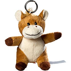 Porte clés peluche cheval  marron 11 cm