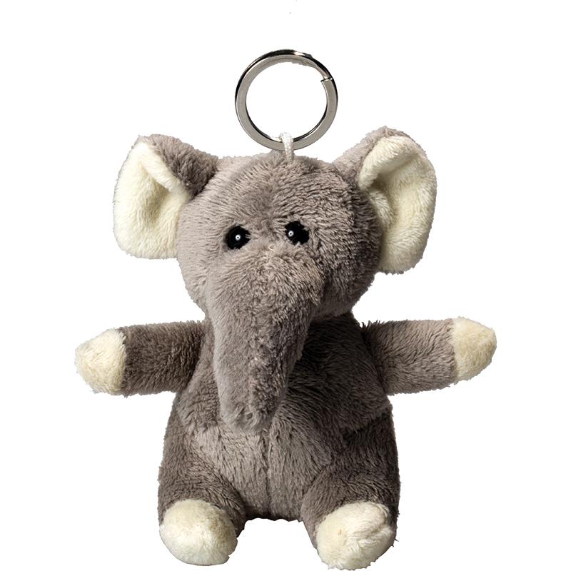 Porte clés peluche éléphant  gris 10 cm