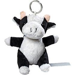 Porte clés peluche vache  blanc et noir 10 cm