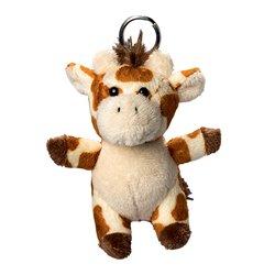 Porte clés peluche girafe  marron et écru 10 cm
