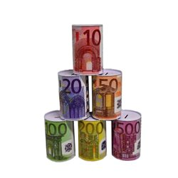 Tirelire en Métal Imprimé Billet d'Euro
