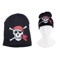 Bonnet Pirate Noir avec Motif Tête de Mort