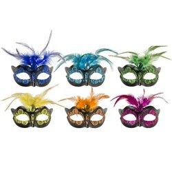 Masque loup avec paillettes de couleur et plumes MIX.