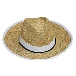 Chapeau Granby en Paille avec Bandeau et Bordure Blanc