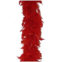 Boa Rouge en Plume avec Fil Argenté