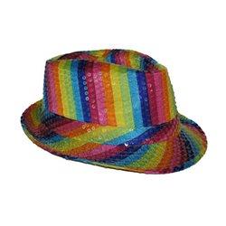Chapeau Trilby à Sequins Multicolore