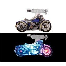 Badge Lumineux en Forme de Moto de Couleur Bleu
