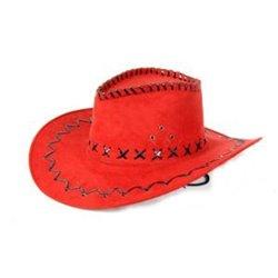 Chapeau Cowboy Imitation Cuir Rouge Adulte