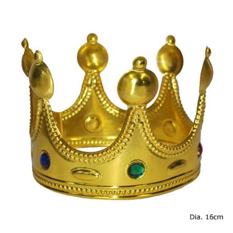 Couronne de roi doré avec incrustations pour enfant 13 cm