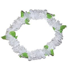Collier Tahiti épais blanc et feuilles vertes