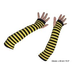 Paire de mitaines abeille jaune et noir longues