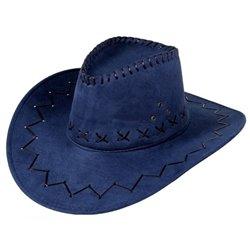 Chapeau de cowboy cuir bleu marine