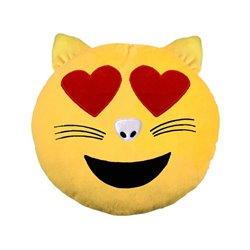 Coussin emoji Chat amoureux 33cm