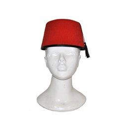 Chapeau fez arabie uni rouge