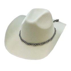 Chapeau de cowboy avec corde blanc