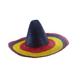 Sombrero en paille Vert Jaune et Rouge 60cm