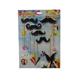 Lot de 6 moustaches 8cm sur baguette