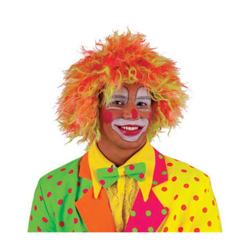 Perruque de clown néon jaune & orange