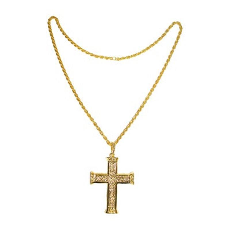 Collier en croix métallique doré