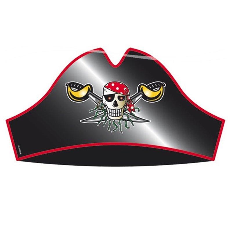 Lot de 8 chapeaux pirate en carton rouge