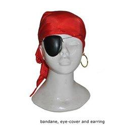 Lot de pirate avec bandana cache-oeil et boucle d'oreille