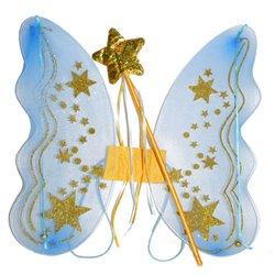 Ailes de fée bleu avec étoiles et baguette dorée