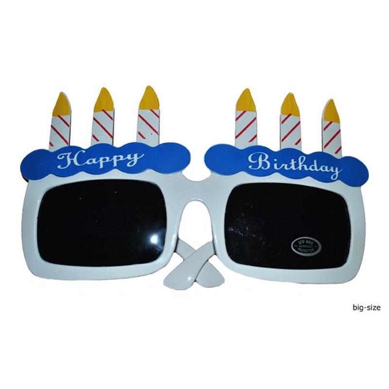 Lunettes gâteau d'anniversaire bleu