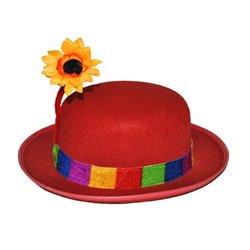 Chapeau de clown rouge avec fleur de tournesol