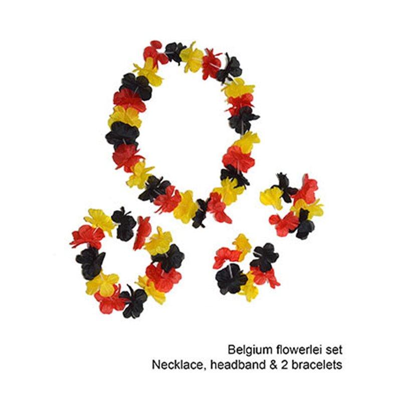 Set de 2 bracelets, collier et couronne à fleurs drapeau Belgique