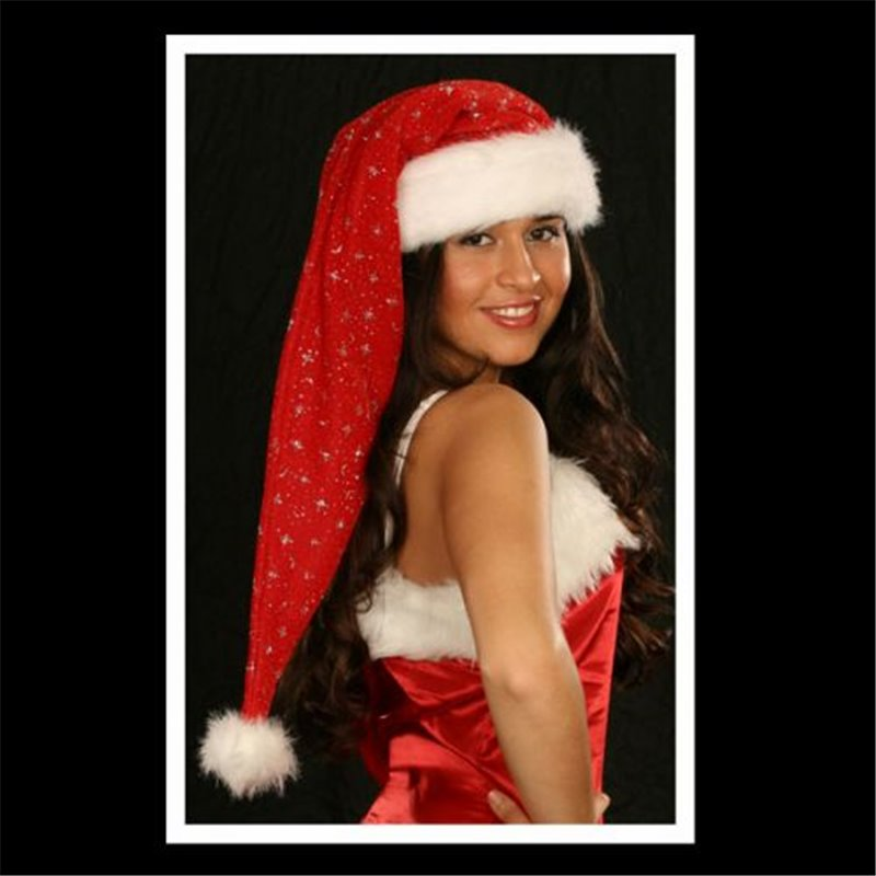 Bonnet de Noël Extra-Long avec Fourrure et Moumoute