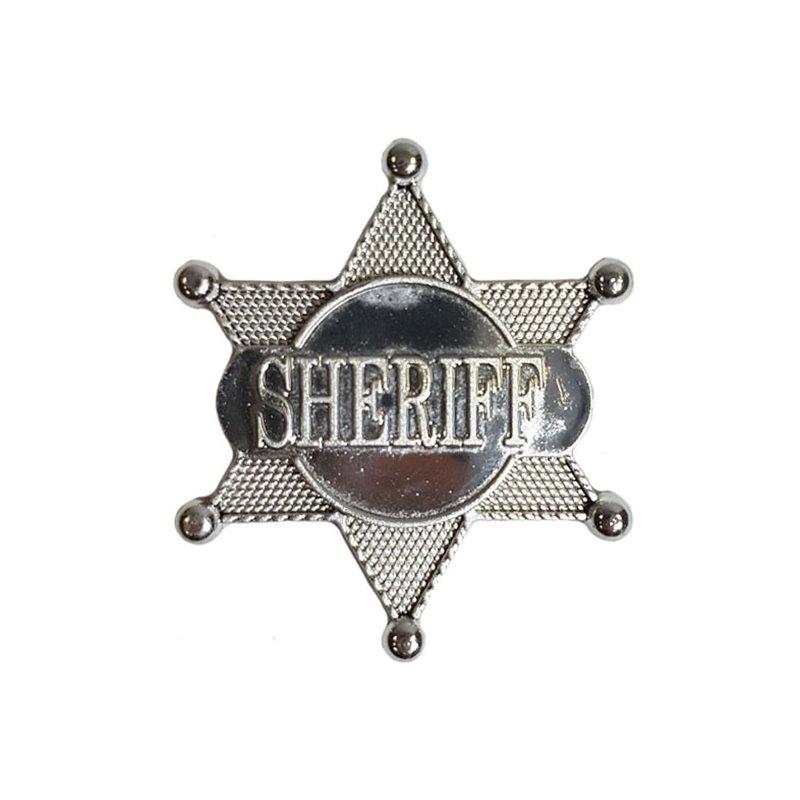 Etoile de shériff en plastique 7,5cm ARGENT