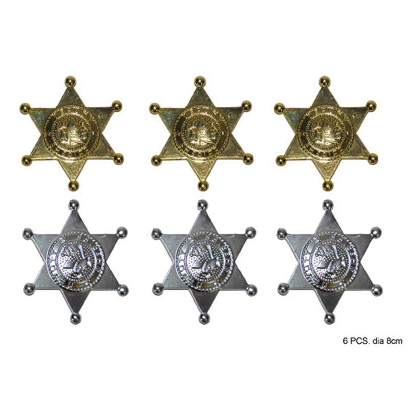 Lot de 6 étoiles de shériff en plastique métallisé