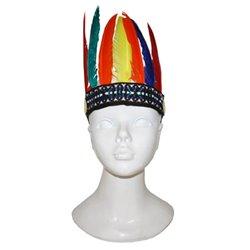 Bandeau coiffe d'Indien avec plumes colorées