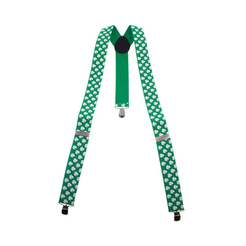 Bretelles vert motif trèfle