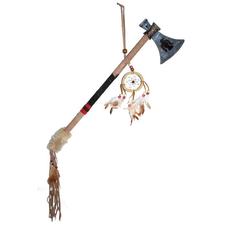 Hache tomahawk d'indien avec attrape-reves 65cm