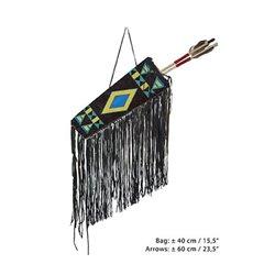 Carquois d'indien et 2 flèches en bois