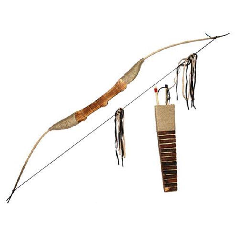 Arc d'indien en bois avec flèches et carquois