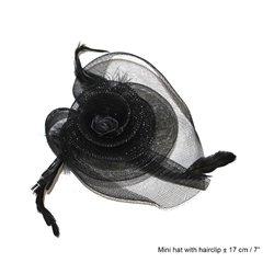 Clip à Cheveux Mini Chapeau avec Plumes