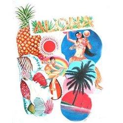 lot de 6 panneaux décoration Tahiti Hawaï