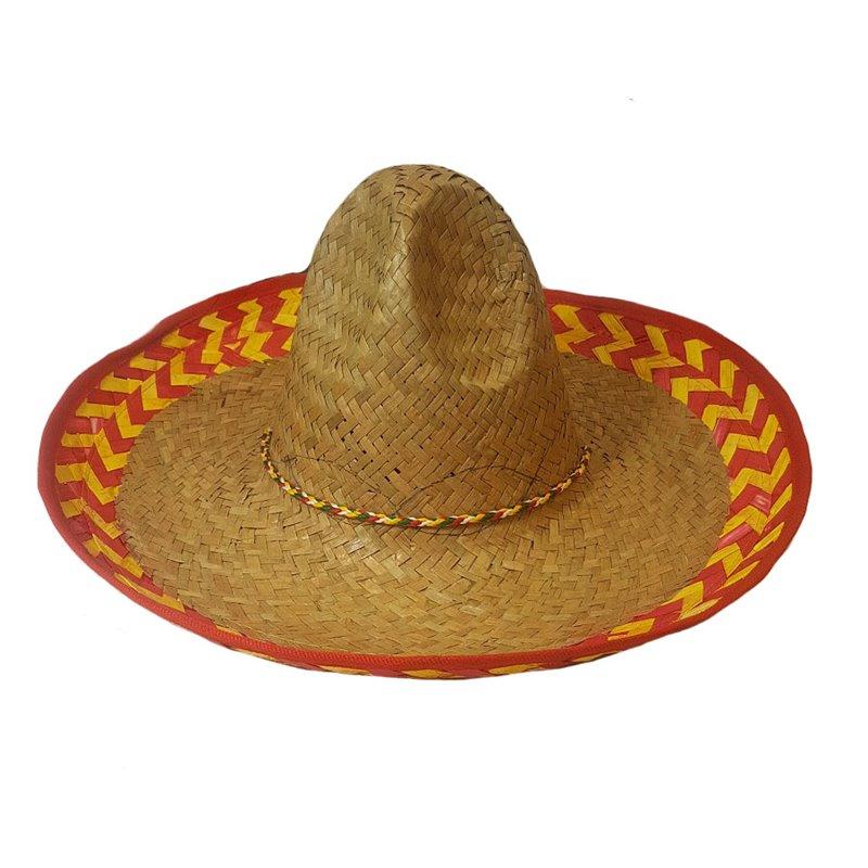Sombrero en Paille avec Bordure Rose et Jaune