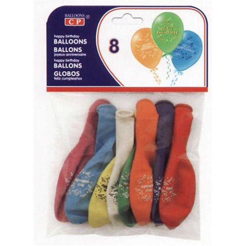 """Ballons """"Joyeux anniversaire"""" (lot de 8)"""