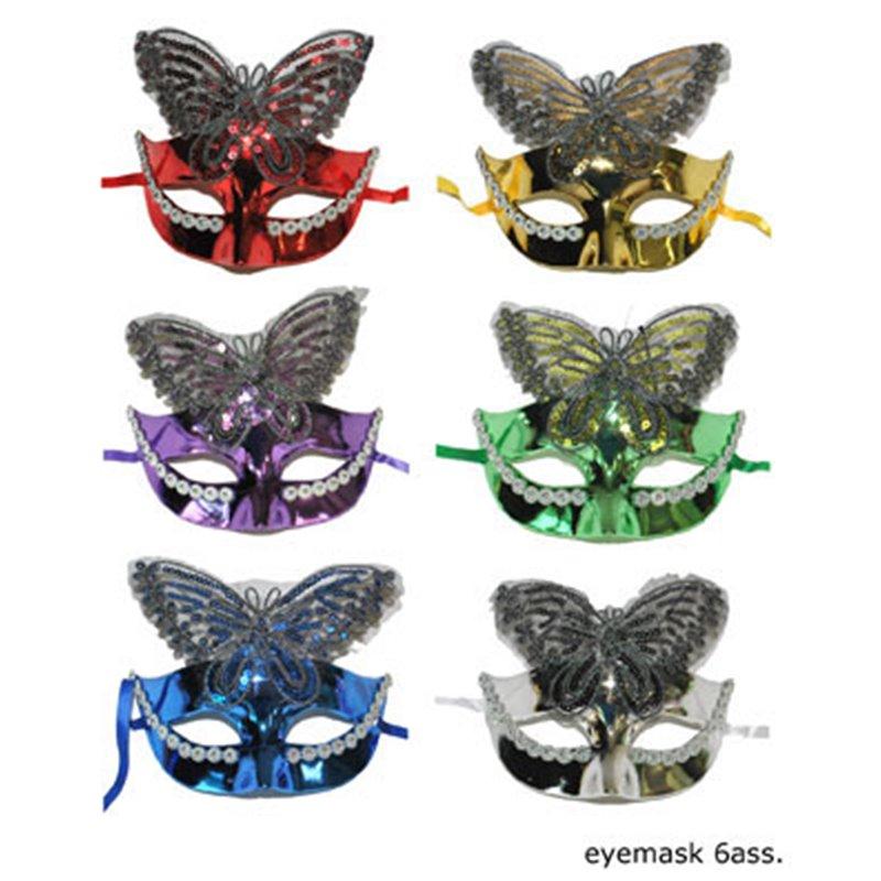 Masque Argenté avec Ornement Papillon Recouvert de Strass