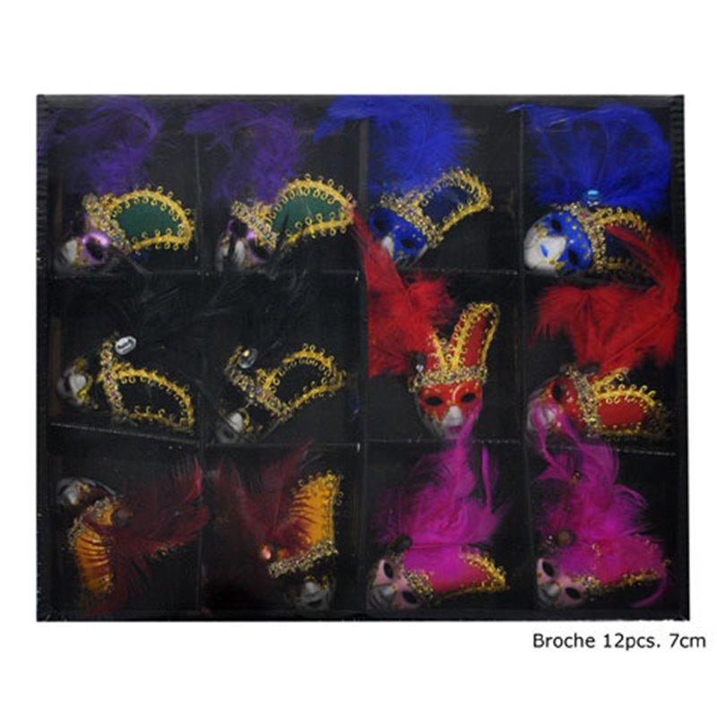 Boîte avec 12 Broches Masque Vénitien
