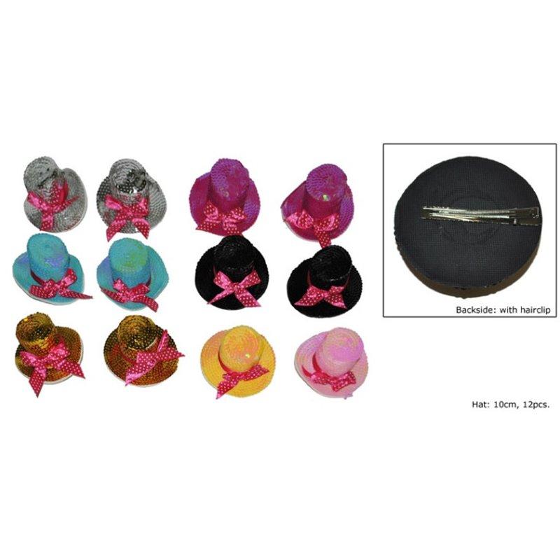 Broche Mini chapeau Canotier à Paillettes aux Différentes Couleurs
