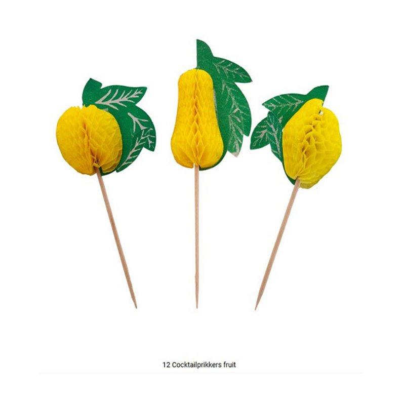 Lot de 12  Piques Apéritif en Bois avec Fruits en Papier 13 cm