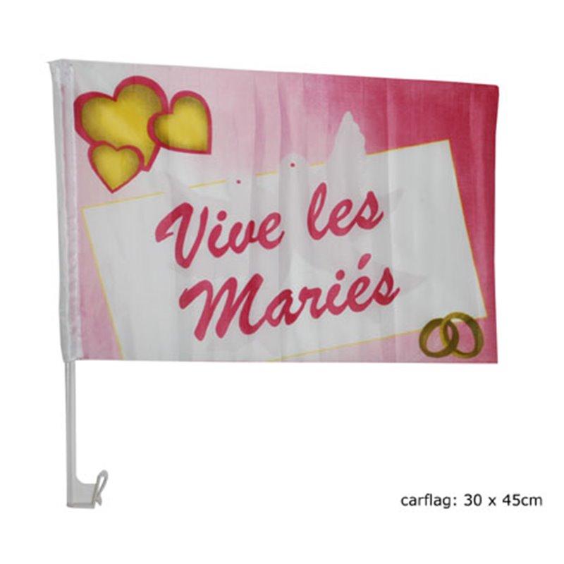"""Drapeau """"Vive les mariés"""" pour Voiture"""