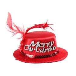 """Clip pour Cheveux avec Petit Chapeau de Noël """"Merry Christmas"""""""