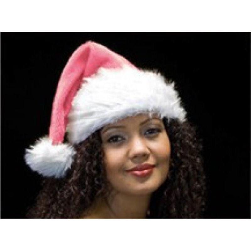 Bonnet de Noël Rose avec Bordure Moumoute